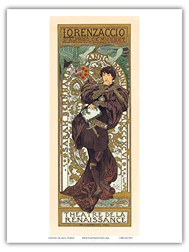 Lorenzaccio - Theatre (Theater) de la Renaissance, Paris - Vintage French Advertising Poster by Alphonse Mucha - Master Art Print - 9in x 12in (Globe Theater Poster)
