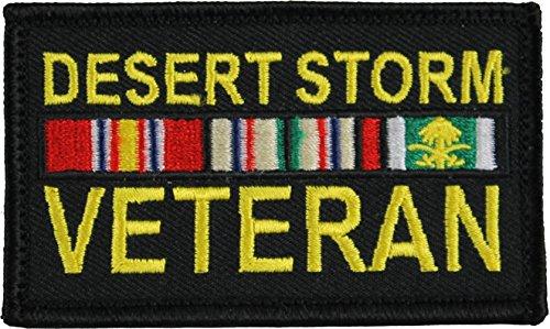 "Desert Storm Veteran 2"" x 3"" Hook & Loop 2 Piece Black Patch"