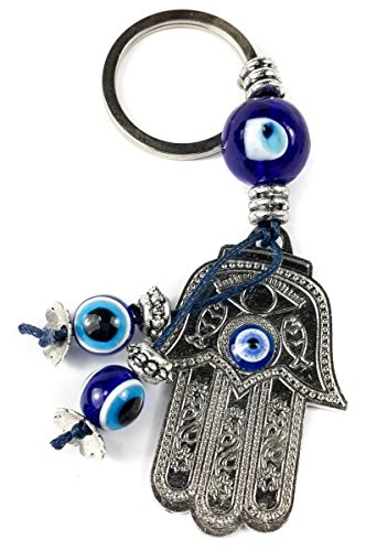 Key Hamsa - Hamsa Hand Silver Metal Key Chain Ring Evil Eye Beads Judaism Israel Luck Charm