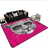 "Modern,Floor mats for Kids 60""x 96"" Leopard with Cool Sunglasses Rubber mat"