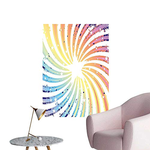 (Wall Decals Colorful Spiral Starburst Illustration Design Rainbow Stripes Pattern Multicolored Environmental Protection Vinyl,28
