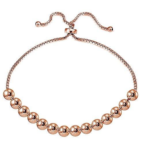 Sterling Silver 6mm Bead Adjustable Bracelet
