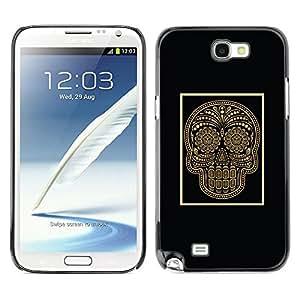 Be Good Phone Accessory // Dura Cáscara cubierta Protectora Caso Carcasa Funda de Protección para Samsung Note 2 N7100 // Gold Skull Black Poster Bling Floral