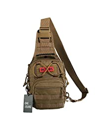 OneTigris 1000D Nylon Tactical Molle Sling Shoulder Bag EDC Travel Hiking Messenger Bag (Coyote Brown)