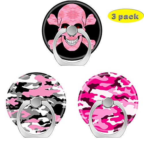 - 3 Pack/Cell Phone Ring Holder 360 Degree Rotation Finger Stand Works for All Smartphone and Tablets-Pink camo Skull Crossbones Camouflage