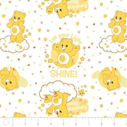Care Bear Funshine Bear in White 100% Premium Quality Cotton Fabric by the Yard (Fabric Teddy Bear)