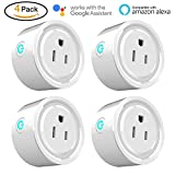 Wifi Smart Plug 4 Packs Mini Smart Outlet Work with Amazon Alexa & Google Home,Remote Control by Smart Phone with Timing Function from Anywhere,No Hub Required,ETL& FCC certification (4 Pack)