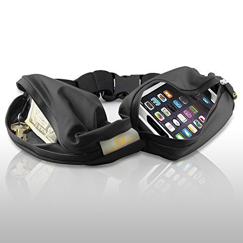 Gear Beast Dual Pocket Running Belt Fanny Pack, ID and Key Holder, Slim...
