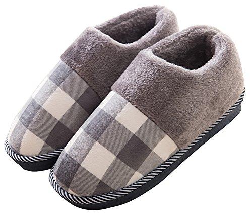 Katoenen Slippers Voor Mannen Bedekken Hak, Indoor Thuis Schoenen Winter Schoen Nepbont Gevoerde Rasterpatroon Grijs