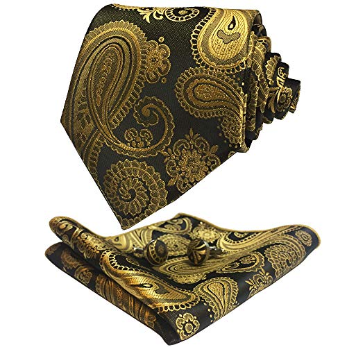 - CANGRON Men Gold Black Paisley Tie Set Necktie with Pocket Square Cufflinks +Giftbox LSP8HJ