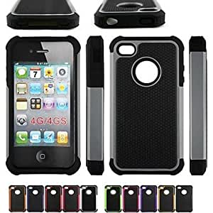 Mini - Two-in-One Football Grain Design PC and Silicone Case for iPhone 4/4S , Color: Pink
