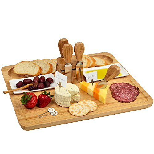 Picnic at Ascot Large Bamboo Cheese Board/Charcuterie Platter with 4 Stainless Steel Tools, 2 Ceramic Trays and 4 Cheese Markers - 16' x 13' - Designed & Quality Checked in the USA