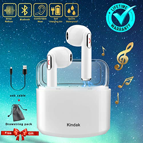 Wireless Earbuds Earphones, Bluetooth Earbuds Headphones in-Ear Noise Cancelling Earbuds Earpiece with Mic Charging Case Earbuds, Sport Running Mini Stereo Bass Earbuds for iOS Android by Kindak (Image #7)