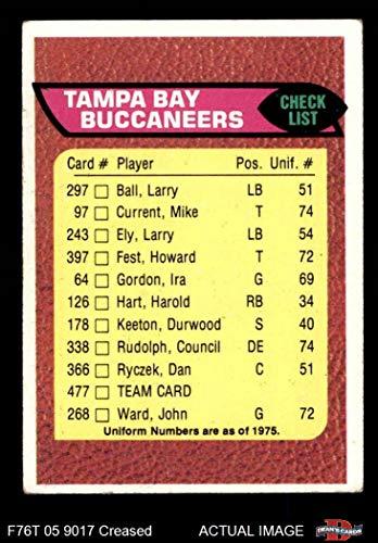 1976 Topps # 477 Buccaneers Team Checklist Tampa Bay Buccaneers (Football Card) Dean's Cards 3 - VG Buccaneers