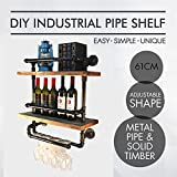 Industrial Pipe/Wood Two Tier Spice Rack Shelf Kitchen Fixture Shelving/wine rack