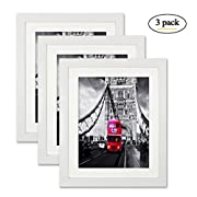 Ohbingo 8 by 10 White Picture Frame Photo Wall and Tabletop Frames with Stand Set of 3 for Pictures 6x8 with Mat or 8x10 Without Mat for Home Wall Decoration