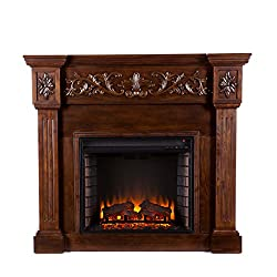 Carved Electric Fireplace - Elegant Mantel Style w/ Floral Trim - Remote Control from Southern Enterprises