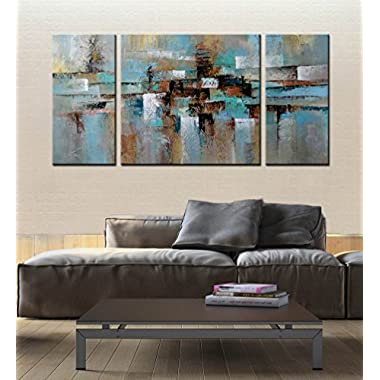 ARTLAND Hand-painted  Abstract Tone  Oil Painting on Canvas Gallery-wrapped Wall Art Decor Home Decoration 3-piece 30x60inches