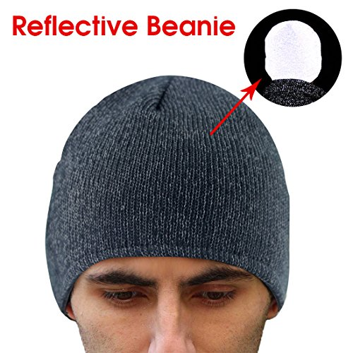 EZGO Warm Reflective Knitted Winter Beanie Hat, Unisex Winter Reflective Running Hat for High Visibility Safety Running at Night