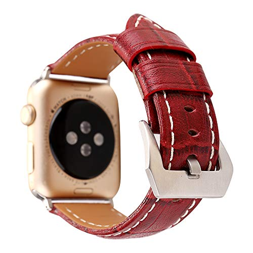 - Band for IWatch, Replacement 38/40/42/44mm Women Men Leather Band Strap for IWatch Series 4/3/2/1,Red,44mm