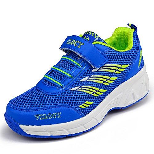 Vilocy Unisex Kids Roller Skates Shoes Girl Boy Trainer Sneakers Wheels Shoes Blue/Pink (EUR36=US4, Blue) ()