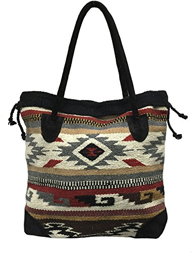 Monterrey Ladies Tote Purse Handwoven Southwestern Aztec Print Suede Handles H