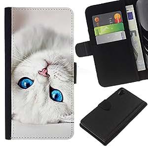 Sony Xperia Z2 D6502 D6503 D6543 L50t L50u , la tarjeta de Crédito Slots PU Funda de cuero Monedero caso cubierta de piel ( Cute Baby Kitten Cat Eyes White Pet)