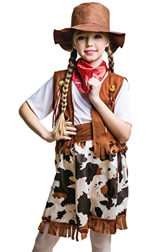 Kids Girls Cowgirl Costume Rodeo Texas Sheriff Wild West Party Outfit & Dress Up (3-6 years, Brown/White)
