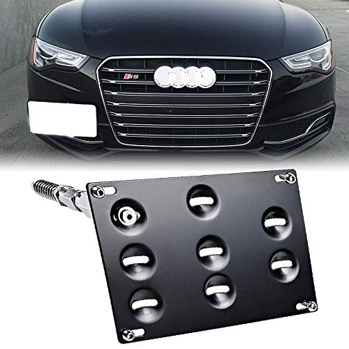 SIZZLEAUTO Front Bumper Tow Hook License Plate Bracket for Audi A4 S4 B8 A5 S5 A7 S7 RS4 RS5 RS7 Allroad Mounting Frame Relocator - Memorial Block Plate