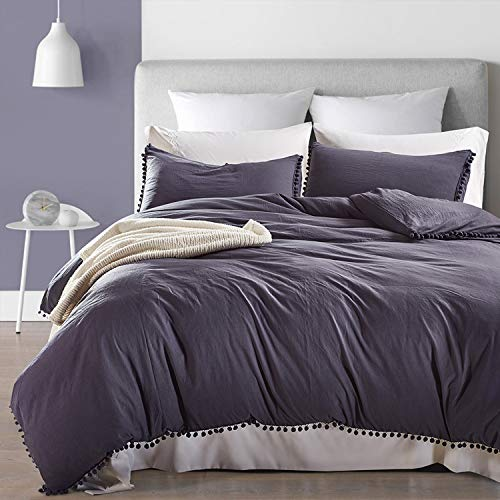 OWMMIZ Bedding 3 Pieces Duvet Cover Set, Washed Microfiber Quilt Duvet Cover – Comfortable Cover with Pompon Tassels and 2 Pillow Shams, Queen Size Duvet Cover, NavyGray