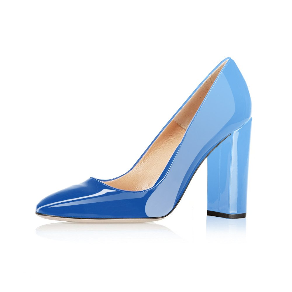 Modemoven Women's Sexy Patent Leather Round Toe Block Heels Pumps Gorgeous Evening Party Stiletto Shoes B07142JY2M 9.5 B(M) US|Sky Blue