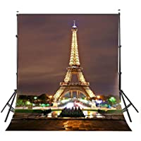 LYLYCTY 5x7ft Paris Eiffel Tower Photography Background Night View Architectural Landscape Backdrop Photo Studio Props(Upgrade Material) LY021