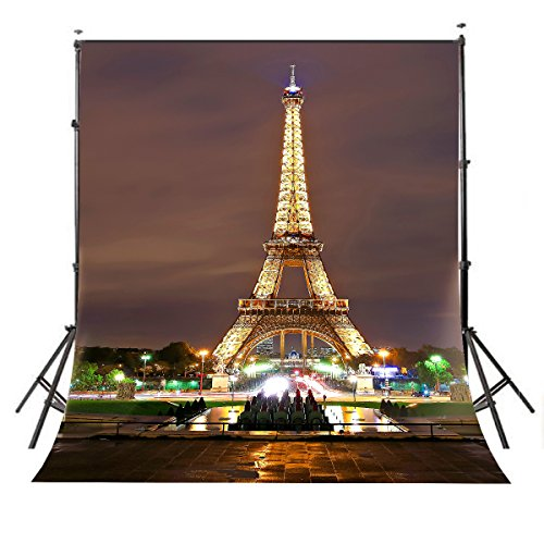 LYLYCTY 5x7ft Paris City Photo Backdrop Eiffel Tower Night View Photography Background French Video Studio Photo Backdrop Props -