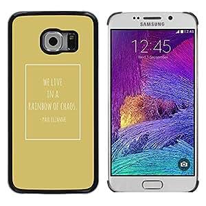 FECELL CITY // Duro Aluminio Pegatina PC Caso decorativo Funda Carcasa de Protección para Samsung Galaxy S6 EDGE SM-G925 // Cezanne Quote Chaos Gold Poster