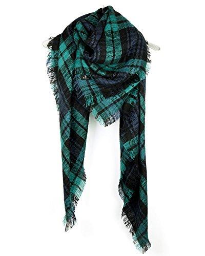 Tirain Women's Cashmere Feel Plaid Blanket Scarf Wrap Shawls (One size, (Cashmere Silk Knit Tie)
