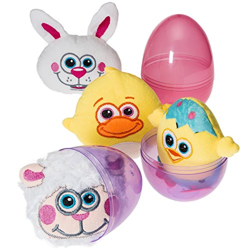 Prextex Plush and Cuddly Easter Filled Jumbo Eggs - Easter Eggs Filled With Adorable Easter Plush Icons