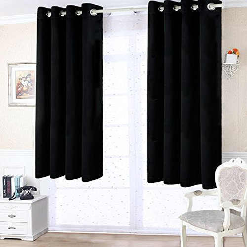Freelife Room Darkening Grommet Blackout Window Curtain For Bedroom Or Living Room 2 Panels(52 by 63inch, Black) Review