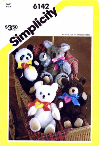 Simplicity Pattern 6142 Four Chic Bears (Koala, Polar, Teddy and Koala) - Chic Bear