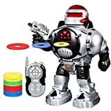 SGILE Kids Robot Toy, RC LED Combat Programmable Interactive Robotic for Kids Gift Birthday Present, Remote Control Shooting Dancing Walking, Silver