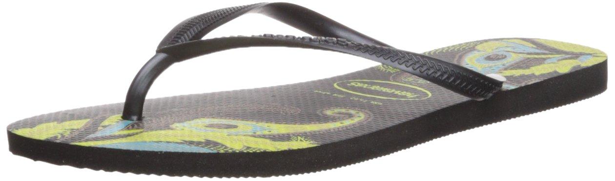 Havaianas Women's Slim Organic Flip Flop Sandals, Floral Design, Black/Grey, 37/38 BR (7-8 M US)