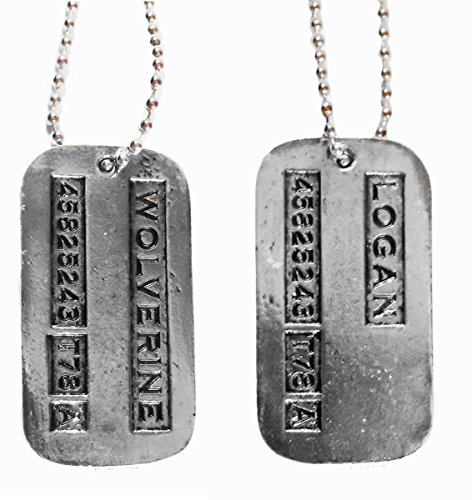 Wolverine Costumes Accessories - Marvel Comics WOLVERINE/LOGAN 2-Sided Silvertone DOG TAG on 20 Inch Chain