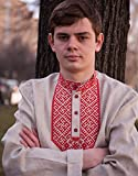 Russian shirt Slavic embroidery men traditional wear kosovorotka boho shirt