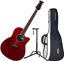 Ovation CS28-RR Celebrity Standard Super Shallow Ruby Red A/E Guitar with Gig Bag and Stand