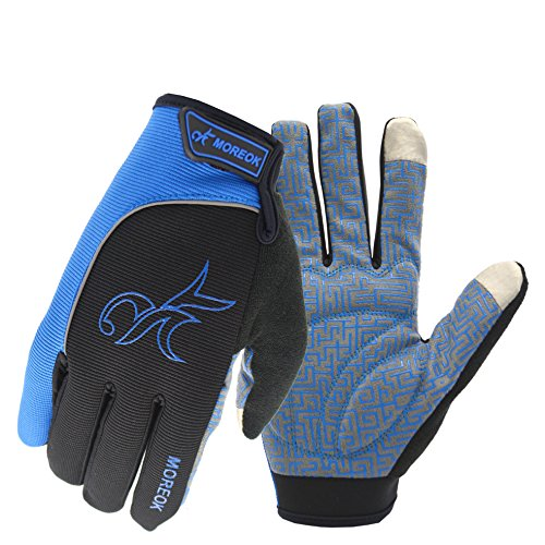 MOREOK Long Finger Winter Cycling Gloves Touch Screen Fleece Gloves with Gel Pading Full Finger for Cold Weather for Outdoor Driving Sporting Climbing Hunting Fishing Hiking (Blue, L)