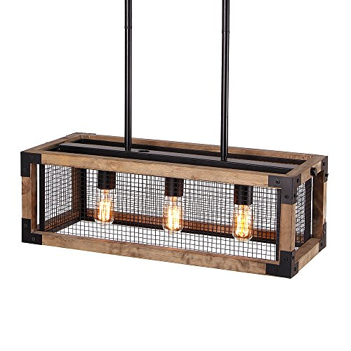 Anmytek Square Metal and Wood Chandelier Basket Pendant Three Lights Oil Black Finishing Iron Net Lamp Shade Retro Vintage Industrial Rustic Ceiling Lamp Caged Light