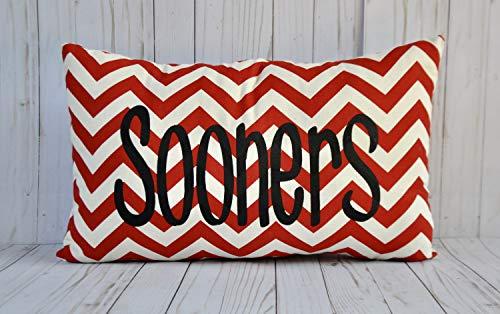 alerie Sassoon OU Sooners Pillowcase Cushion Collegiate Decor Chevron Canvas Decorative Throw Pillowcase Cushion