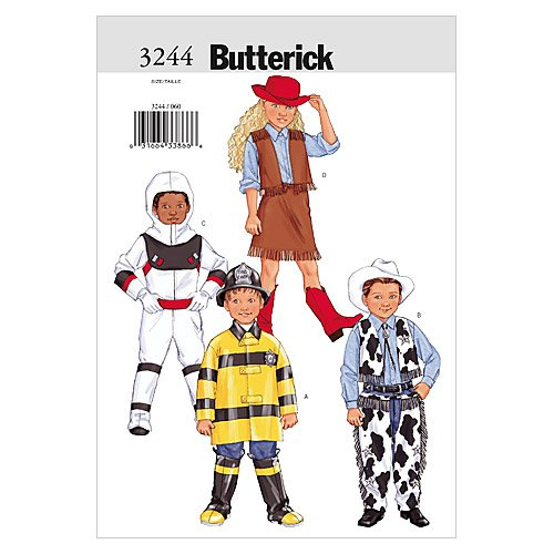 Butterick B3244 Astronaut, Firefighter, Cowboy, and Cowgirl Children's Halloween Costume Sewing Pattern, Sizes 2-5 -