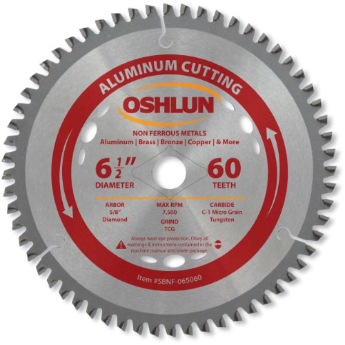 Oshlun SBNF-065060 6-1/2-Inch 60 Tooth TCG Saw Blade with 5/8-Inch Arbor (Diamond Knockout) for Aluminum and Non Ferrous Metals ()