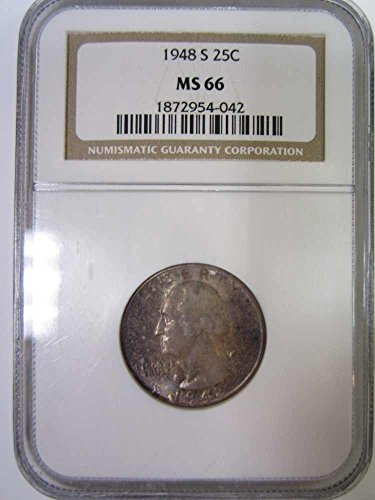 1948 S George Washington Presidential Quarter NGC MS66