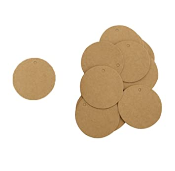 leisial 100 pieces round gift tags kraft paper hang tags for wedding